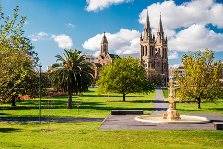 St. Peter's Cathedral in Adelaide, South Australia. View from Pennington Gardens 免版税图像