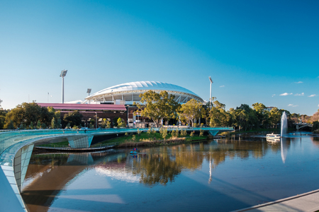 foot bridge: Adelaide, Australia - September 11, 2016: Adelaide Oval and foot bridge viewed across Elder Park on a bright day Editorial