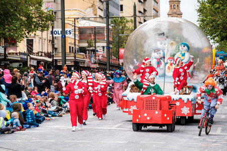 Adelaide, South Australia - November 12, 2016: More than 250.000 came to the city centre to see 172 colourful sets of floats, bands, dancers, clowns and Father Christmas. The Credit Union Christmas Pageant is one of the biggest events in South Australia