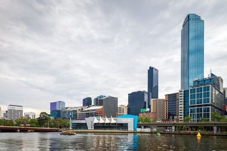 sea life centre: Melbourne, Australia - December 27, 2016: Melbourne Sea Life Aquarium and the City Business District viewed across the Yarra River