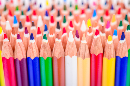 Close up macro shot of sharp colorful pencils Stock Photo