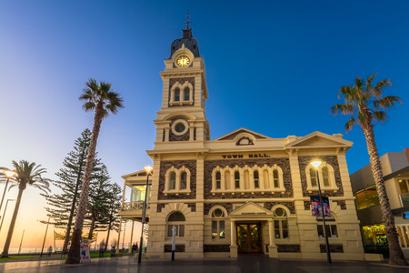 Adelaide, Australia - August 22, 2015: Glenelg Town Hall at Moseley Square at night. Moseley Square is a public square in the City of Holdfast Bay at Glenelg. Long exposure camera settings
