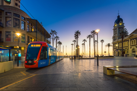 Adelaide, Australia - August 22, 2015: Adelaidemetro tram at Moseley Square, Glenelg. Trams are terminated here. Long exposure camera settings