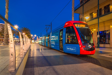 Adelaide, Australia - August 22, 2015: Adelaidemetro tram at Moseley Square, Glenelg. Trams are terminated here.