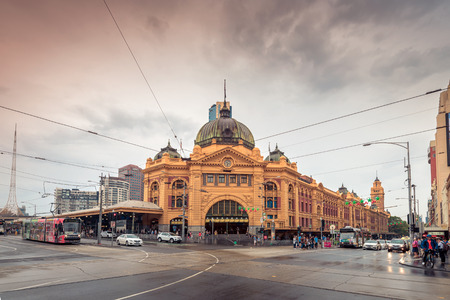 melbourne, Australia - December 27, 2016: Flinders Street railway station is situated on the corner of Flinders and Swanston Streets right in the centre of the city