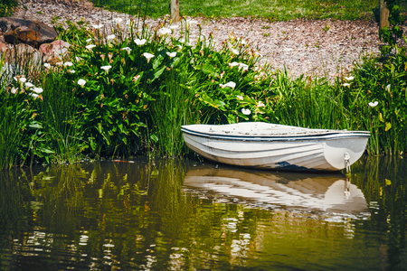 adelaide: Old boat anchored in the pond Stock Photo