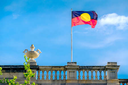 adelaide: Australian Aboriginal flag installed on Old Parliament House on North Terrace in Adelaide city