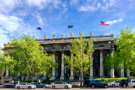 Adelaide, Australia - October 25, 2016: Old Parliament House viewed across North Terrace in Adelaide CBD on a day Editorial