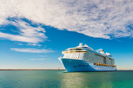 Port Adelaide, South Australia, February 14, 2017:  MS Ovation of the Seas cruise ship leaving Outer Harbour at sunset.