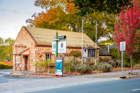 adelaide: Hahndorf, South Australia - April 9, 2017: Old Mill Hotel of Hahndorf in Adelaide Hills area during autumn season