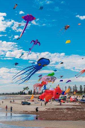 adelaide: Adelaide, Australia - April 15, 2017: Adelaide International Kite Festival at Semaphore Beach. Event gathered together international kite flyers from Australia, New Zealand and Malaysia