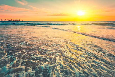 adelaide: Waves at sunset on a warm evening, South Australian coast Stock Photo