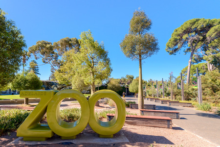 Adelaide, Australia - April 14, 2017: Adelaide Zoo installation near the main entrance in Adelaide CBD on a Sunday morning. Adelaide Zoo is Australia's second oldest zoo