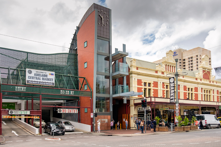 adelaide: Adelaide, Australia - November 12, 2016: Central market entrance gate view from Gouger Street on a day Editorial