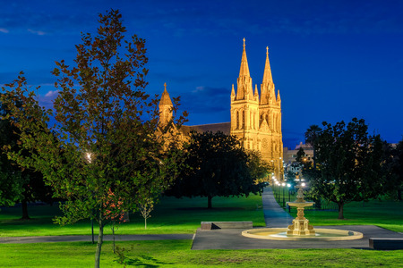 St. Peters Cathedral of Adelaide lit up at night, South Australia. View from Pennington Gardens