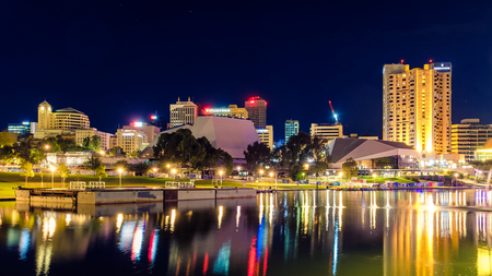 Adelaide, Australia - April 16, 2017: Adelaide city skyline at dusk viewed across Torrens river from King William bridge