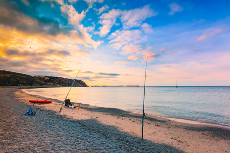 Fishing from the beach at Rapid bay foreshore, Fleurieu Peninsula, South Australia
