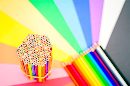 nib: Close up macro shot of sharp colorful pencils on colorful background Stock Photo