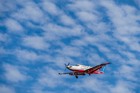 hospital patient: Adelaide, Australia - October 1, 2016: Pilatus PC-12 of Royal Flying Doctor Service aircraft, RFDS Central Operations with registration number VH-FDE landing at Adelaide airport.