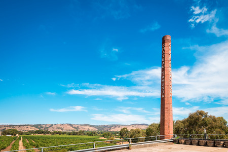 Adelaide, Australia - January 16, 2016: Chateau Tanunda brick chimney viewed from main entrance. Chateau Tanunda is a South Australian winery established in 1890 in the Barossa Valley and entered on the Register of State Heritage Places