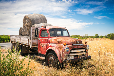 Adelaide, Australia - January 16, 2016: Old abandoned truck with hay near Moorooroo Park Vineyards in Barossa Valley, South Australia Editorial