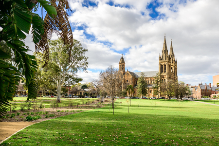 St. Peters Cathedral located in North Adelaide on a day viewed from Pennington Gardens