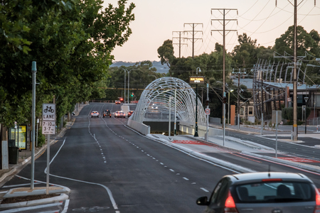 Adelaide, Australia - December 25, 2017: New $160 million Adelaide O-Bahn extension tunnel entrance with freshly marked bus lanes on Princes Hwy A21 viewed towards south
