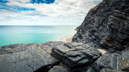 Rapid bay rugged foreshore with caves, Fleurieu Peninsula, South Australia