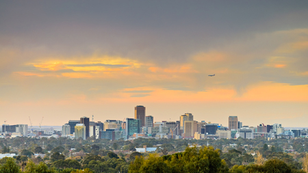 Adelaide city skyline at sunset viewed from hills