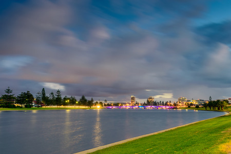 Patawalonga lake in Glenelg after sunset, city of Holdfast Bay, South Australia. Long exposure effect