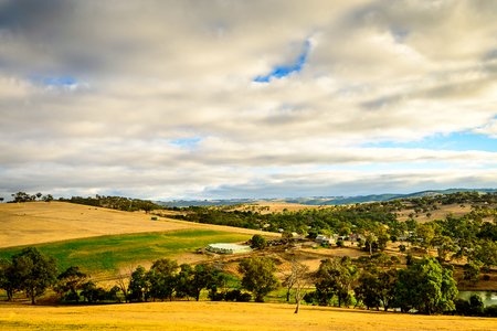 Farmlands at sunset in Yankalilla, South Australia 写真素材