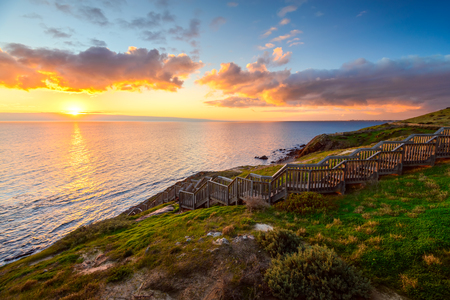 Hallett Cove park boardwalk at sunset, South Australia