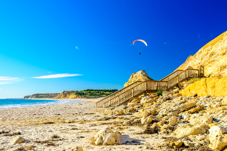 Skydiving above Port Willunga Beach on a day, South Australia Stock Photo