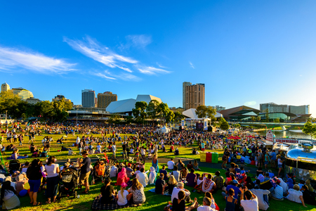 Adelaide, Australia - January 26, 2018: Adelaidians gathered together to celebrate Australia Day in the city in Elder Park. This event is attended by more than 40.000 people every year and continues to grow with every year Editoriali