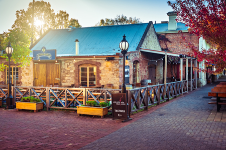 Hahndorf, South Australia - April 19, 2018: Adelaide Hills wine centre side view in Hahndorf German Village during autumn season at sunset