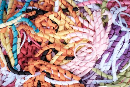 Pastel colored handmade curly ribbon hair ties