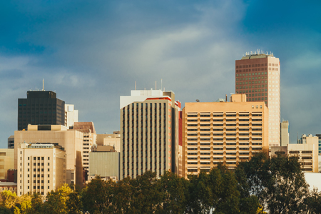 Adelaide city skyline view across Elder Park at sunset