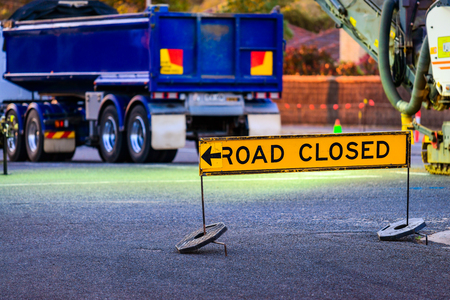 Australian road closed sign during night works  in Adelaide