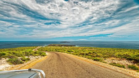 Cape Du Couedic Road viewed towards Admirals Arch lookout, Flinders Chase, Kangaroo Island, South Australia
