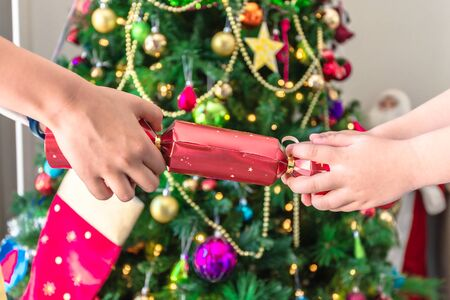 Australian chrildren pull Christmas cracker with lollies, paper hat and riddle inside near Christmas Tree Zdjęcie Seryjne