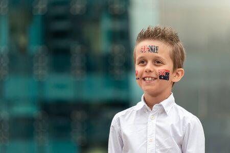 Portrait of smiling Austrlian boy during Australia Day celebration