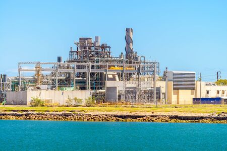 Natural gas operated power station in Port Adelaide, Torrens Island, South Australia Banco de Imagens - 138441006