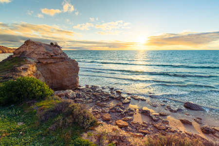 Beautiful sunset at Port Willunga beach viewed from the clifftop, South Australia