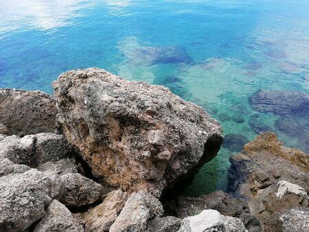 Stone and sea blue Standard-Bild