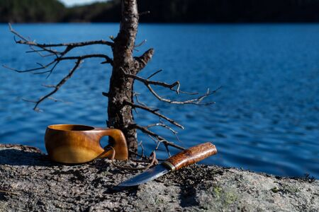 Knife with wooden handle in a thick dead branch with lake in background