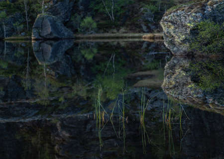 Grass in a mountain lake with reflection in water with still water and rock