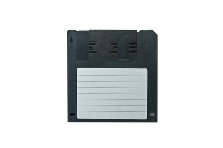 Diskette in black on a white background  photo