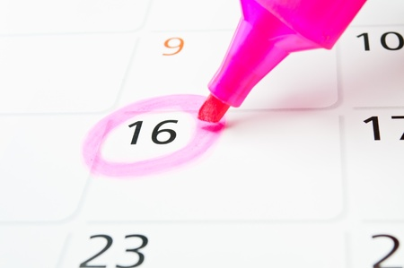 The pink circle in the frame  Mark on the calendar at 16  photo
