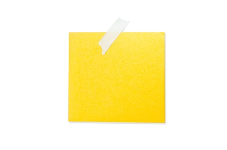 Yellow note paper color blank notes on a white background  photo