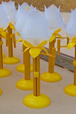 puja: The lotus lanterns for candles in Saket temple  the Golden Mount  Bangkok thailand  On Visakha Puja Day